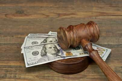 Spousal support order with cash and gavel
